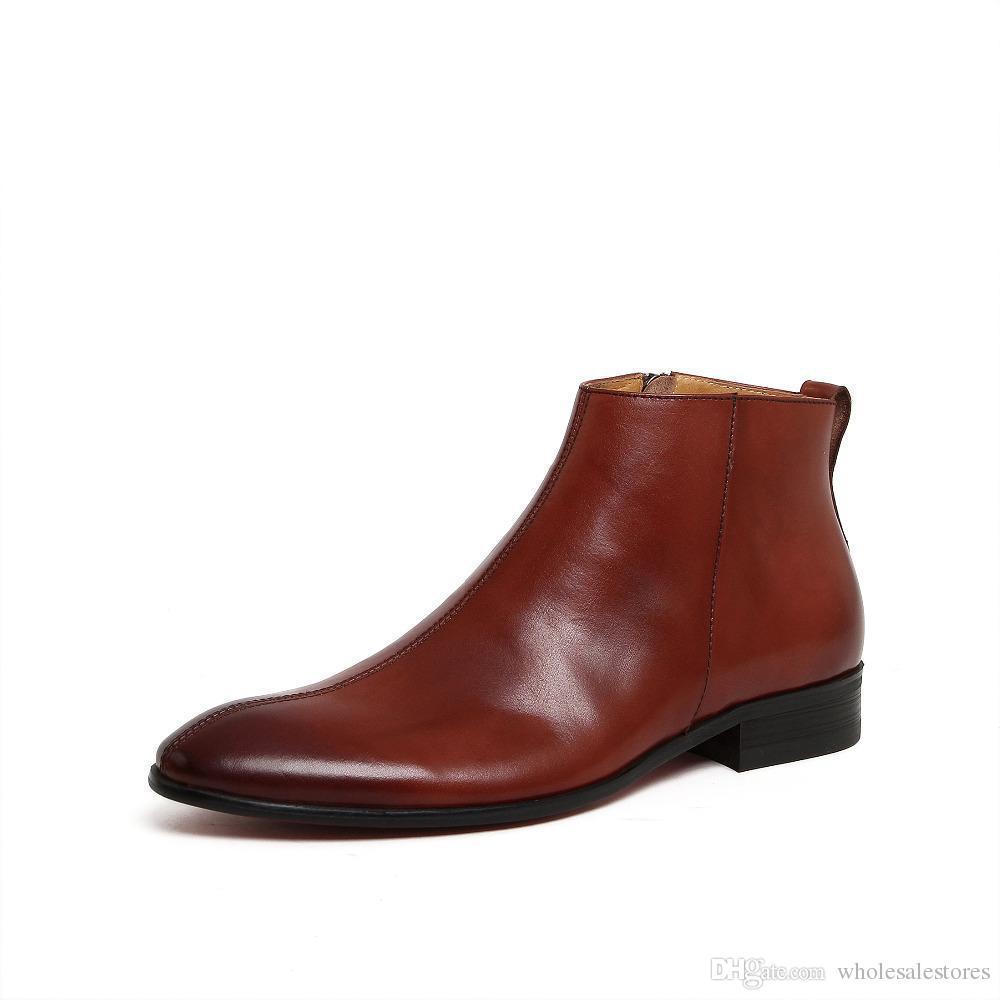 e8920afcfae Compre Nuevos Botines Para Hombre Con Cremallera De Cuero Genuino Zapatos  De Cuero De Hombre De Punta Redonda Chakku Vestido Oxfords Western Cowboy  Boots A ...