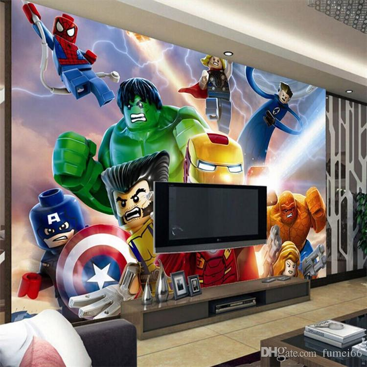 3d Lego Avengers Wallpaper For Walls Mural Cartoon Wallpaper Kids Bedroom  Room Decor Tv Backdrop Wall Covering Photo Wallpaper Widescreen Wallpaper  Pictures. 3d Lego Avengers Wallpaper For Walls Mural Cartoon Wallpaper Kids