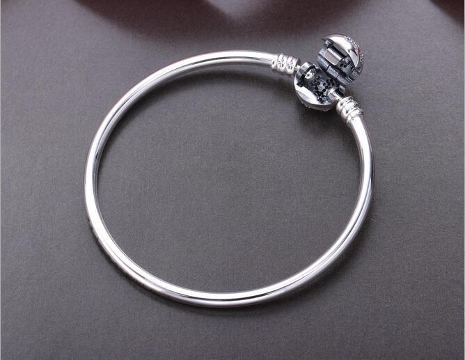 925 Sterling Silber Frauen Schneeflocke Armreif Armbänder Logo gestempelt Herz Verschluss Zirkonia gepflastert für Pandora europäischen Charme und Perlen