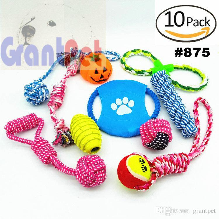 10 pack kit Pet dog carrierPuppy Cotton Chewing Ball Bone Knot dog accessories Dog Toys for Aggressive Chewers