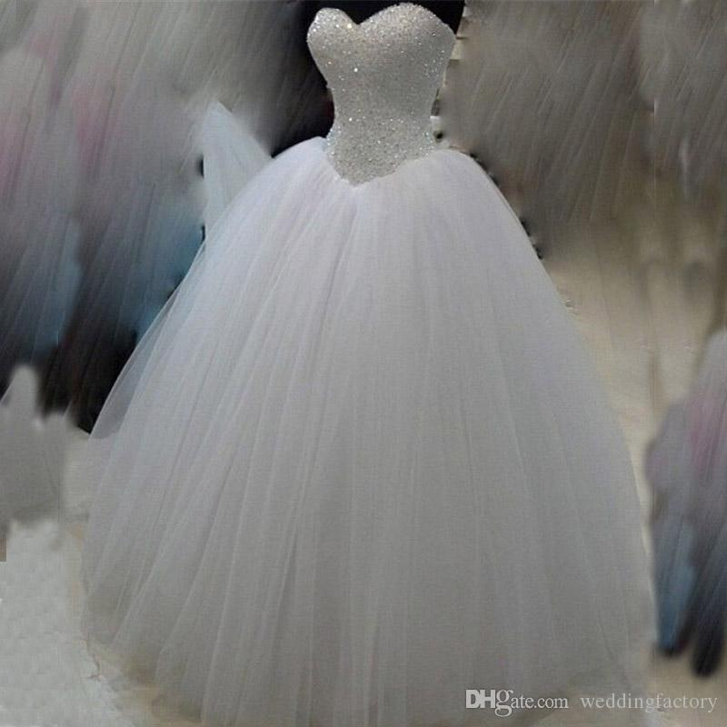 Bling Ball Gown Corset Puffy Wedding Dress Beades Sequins Crystals Top Sweetheart Sleeveless Lace Up Back Tulle Bridal