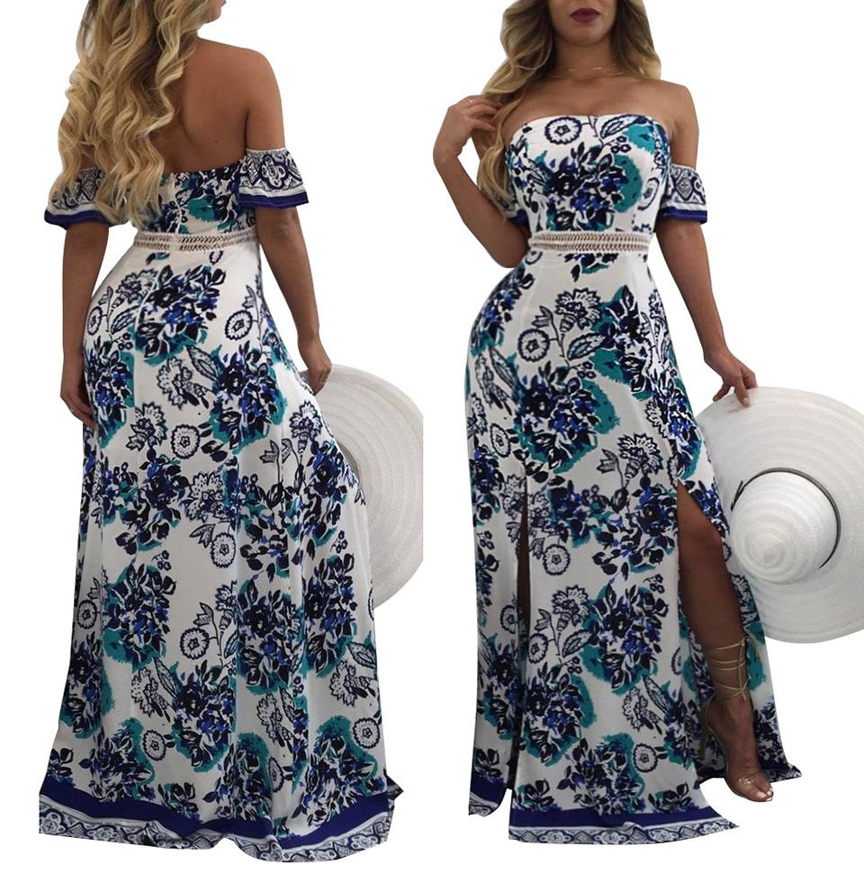 7c6ab754a44df Elegant Long Split Floral Print Dress Women Off Shoulder Summer ...