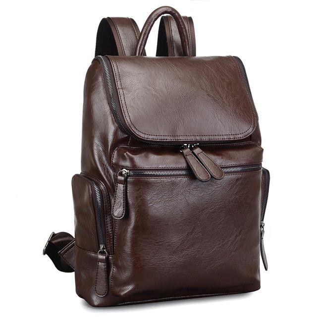 2017 Brand Designer Men Leather Backpack Men S School Backpack Bag Bagpack Mochila  Feminina Black Brown Travel Bag Shoulder Bag Hiking Backpack Swiss Gear ... 75ee59a60f909