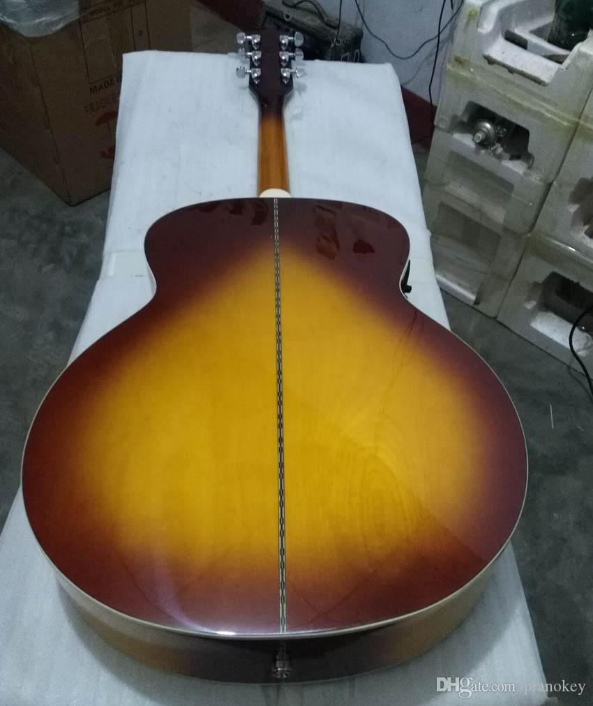 OEM handcrafted 43 inch Jumbo Tobacco color acoustic guitar,solid spruce top, China made guitars J200