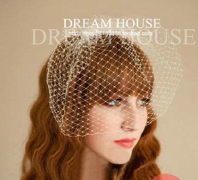 Woman headdress hair Simple blue white Red Black Veil Bride jewelry large mesh veil headdress hairpin wedding accessories