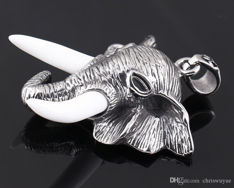 Серебряные Мужчины Ювелирные Изделия Из Нержавеющей стали Шарм Подвески Цепи Голова Слона Животных Ожерелье для Мужчин / Женщин MP63