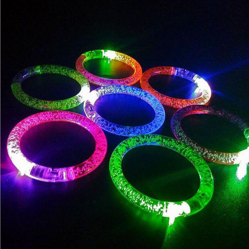 Colorido cambio de LED pulsera luz intermitente acrílico que brilla intensamente pulsera niños juguetes fiesta de Navidad decoración suministros ZA3380