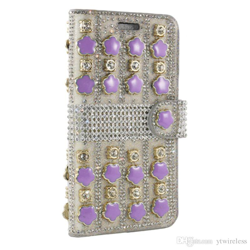 For LG Aristo 2 Tribute HD LS676 X Power K210 G6 G5 G4 G3 V10 V20 Glitter Rhinestone Leather Wallet Case Fashionable Pouch Tough Cover
