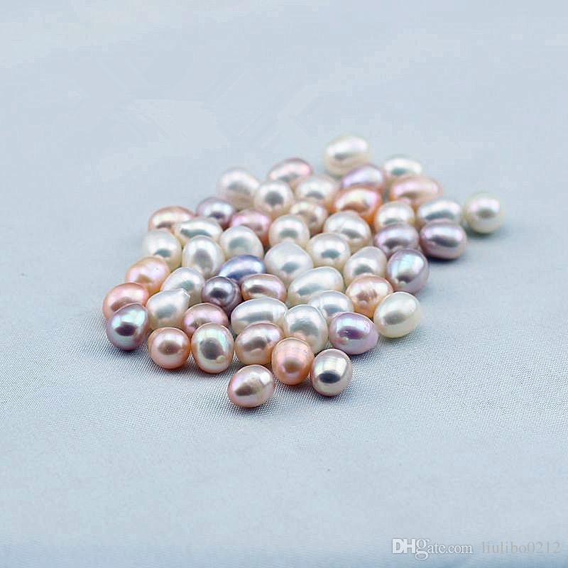 100 adet / grup Oval Akoya Inci Istiridye Beyaz Pembe Mor 7-8mm Doğal Inci DIY Inci Gevşek Süslemeleri Takı Vakum Ambalaj Toptan