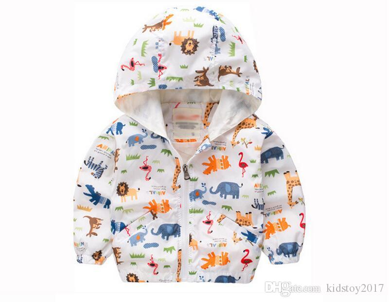 2017 New Spring / Autumn Children Animal Printed Tench Coats Hoodies polyester long sleeve O-neck kids Outwear Clothing for 3-7years old
