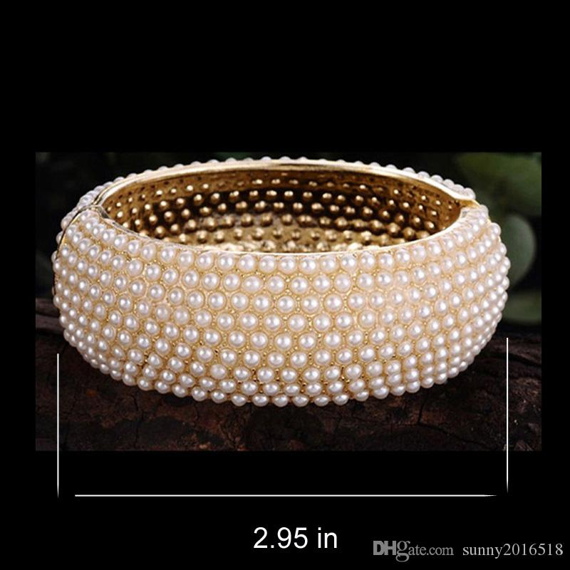Top Quality Luxury Pearl Bracelets Spring Wide Cuff Bangle Gold Alloy Bead Bracelet for Women Wedding Bride Bangles Jewelry Gifts Wholesale
