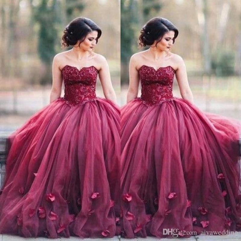 Compre Vestidos De Fiesta De Baile Rojo Oscuro Vestidos De Noche De ...