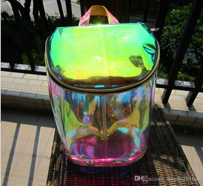 2017 Yeni Sırt Çantası Stil Şeffaf Şeffaf Lazer Su Geçirmez Sırt Çantası Genç Kızlar için PVC Okul Çantaları iki renk