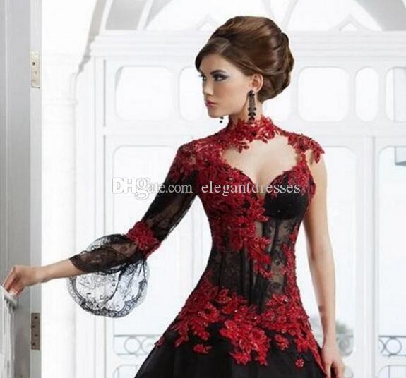 2021 Vestidos de novia Rojo y negro A-LÍNEA Cuello alto Cuello Applique Abalorios Paolo Sebastian Bridal Sheer Back Boda Boda Vestidos de novia