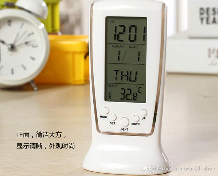 MINI LED Alarm Clock Colori che cambiano gli orologi Calendario Data Termometro Orologi elettrici bambini Tavolo scrivania Decorazione della casa