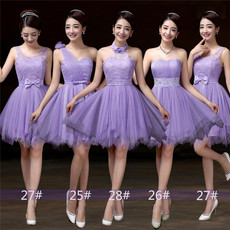 2018 New Lavender Short Bridesmaid Dresses Women Wedding Prom Party ...