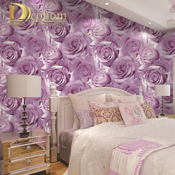 Wholesale Romantic Purple Blue Pink Roses Wallpaper 3d Flower For Living  Room Sofa Cozy Home Decor Embossed Floral Wall Paper Rolls Photo Wallpaper  Photo ...
