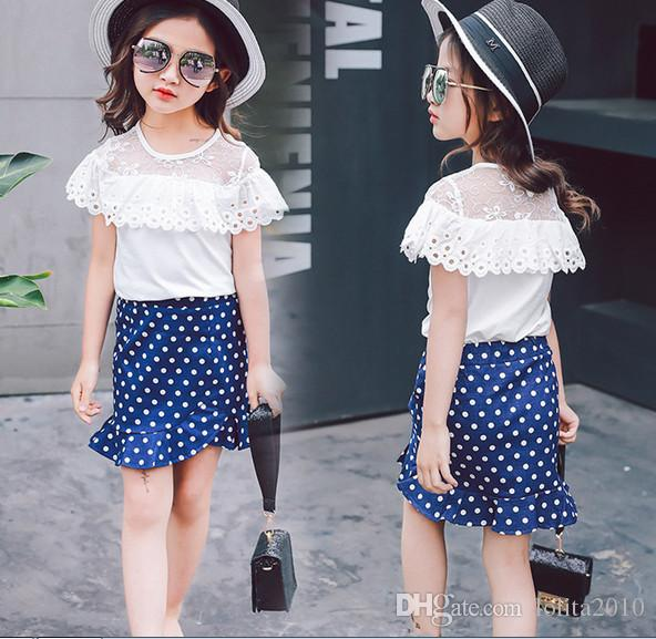 2017 girls summer suits girls Lotus leaf solid white tops T shirts+girls Mermaid skirt suit set kids Tutu dress clothes