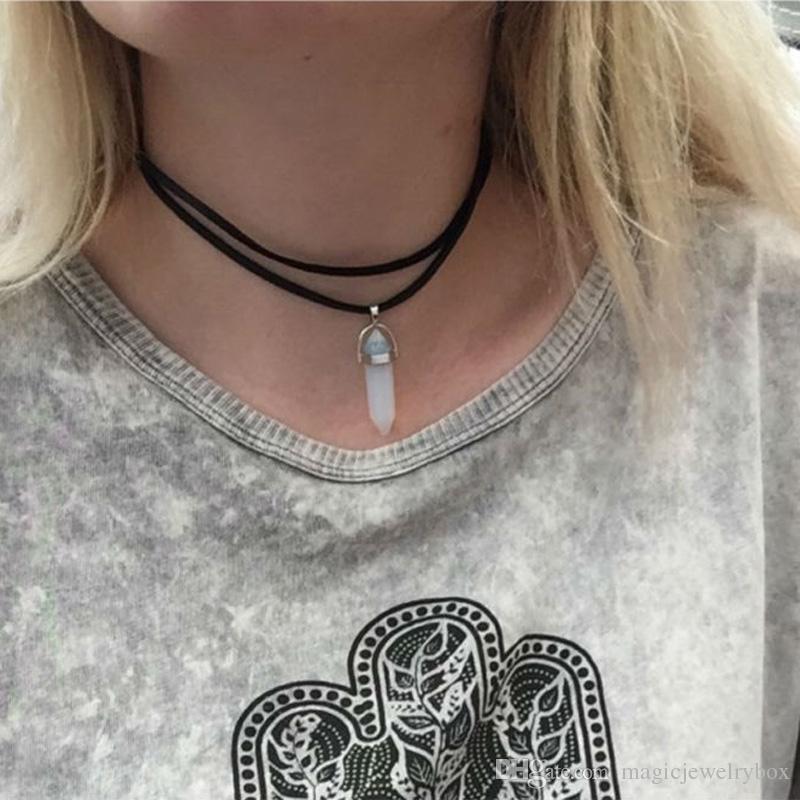 Ursprüngliche neue Weinlese-Opal-Anhänger Halskette für Frauen Boho-PU-Leder Chocker Halskette mit Stein weiblicher Freundin Schmuck Geschenk Collares