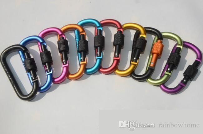 Diametro addensato 8CM lega di alluminio D stili pulsante arrampicata con serratura moschettone portachiavi gancio appeso campeggio zaino in spalla fibbia