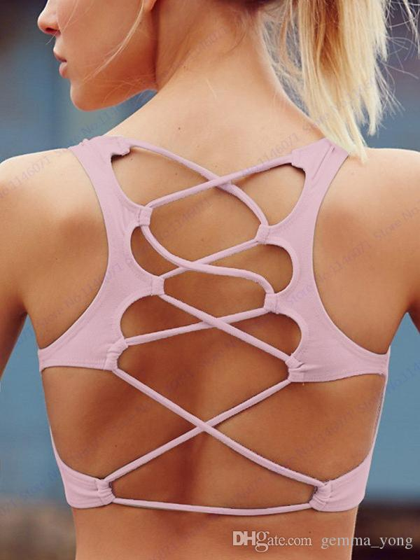 Siyah Wirefree Yoga Sutyen Yeşil Seksi Geri Çapraz Spor Koşu Tankı Üst Bras Turuncu Açık Spor Mahsul Tops Pembe Iç Çamaşırı Kadınlar