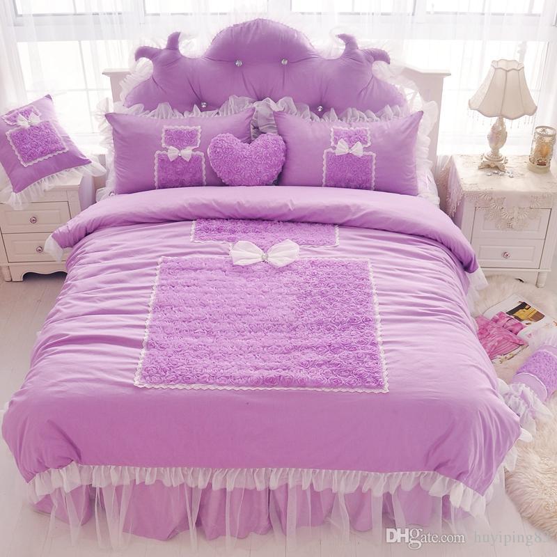 Set di biancheria da letto in pizzo viola romantica King Queen 4 Pz Ruffles Cover Duvet Cover Princess Bed Gonna Biancheria da letto Bedlethes Cotton Home Textile