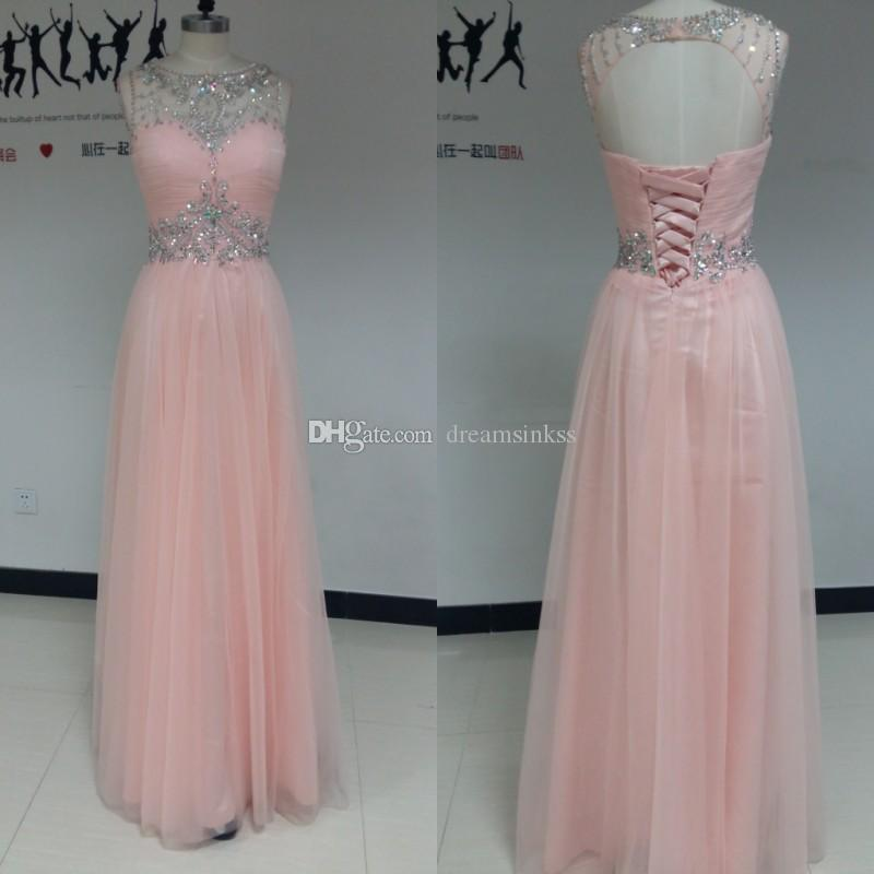 2017 Romantic Prom Dresses Jewel Neck Guest Dresses Sheath Beads Sequins Crystals Evening Dresses Tulle Backless Lace Up With Free Necklace
