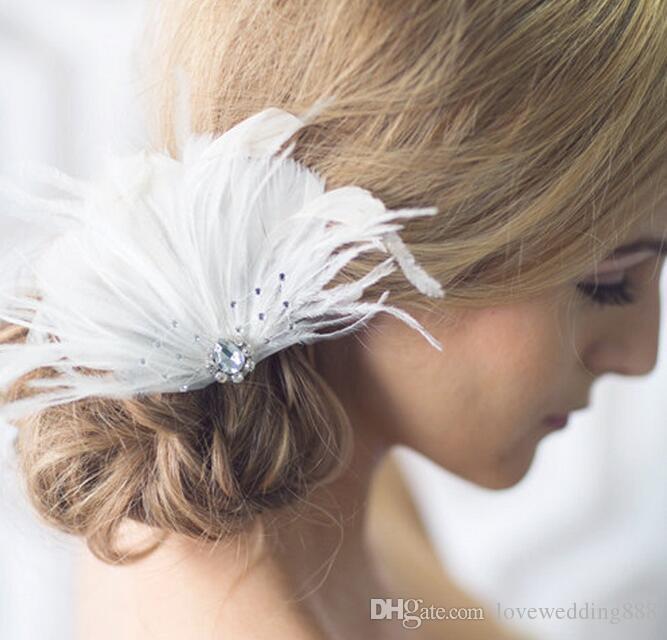 2019 Fashion Bride White Feather Stones Headdpieces Dance Performance Wedding Dress Hair Trim Head Clip Lace Female Wedding Accessories