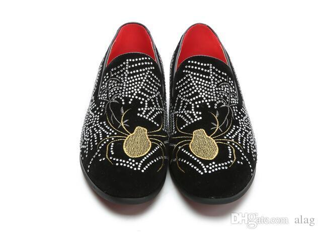 Chegada nova mens moda loafers deslizar sobre strass flat casual sapatos de barco condução mocassins brogues sapatos plus size 37-44