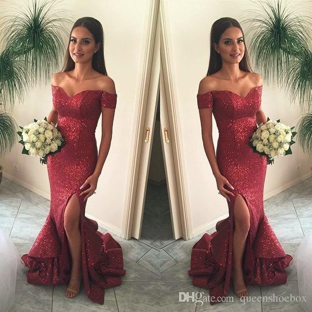 Elegante Vinho Vermelho Brilhante Lantejoulas Sereia Vestidos de Dama De Honra Fora Do Ombro Ruffle Dividir Trem Dianteiro 2017 Vestidos de Noite Da Dama de honra Formal Vestidos