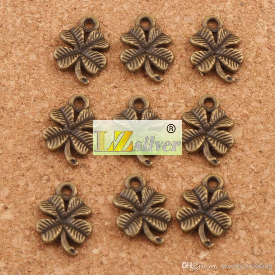 Счастливый клевер подвески подвески ювелирные изделия DIY 200 шт. / лот Античное серебро / золото / бронза L318 15.3x10.2мм выводы