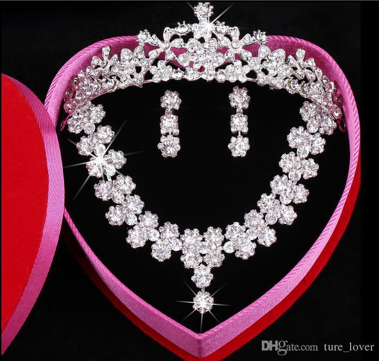 Clear Austrian Rhinestone Crystal Necklace Earrings Set Bridal Crown Tiara Wedding Jewlery Daisy Korean pearl Crystal