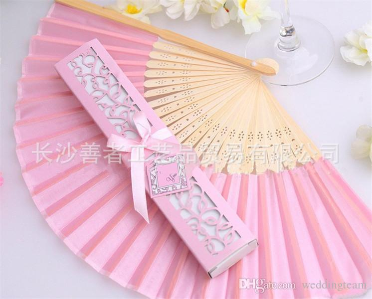 Cheap Chinese Imitating Silk Hand Fans Blank Wedding Fan For Bride Weddings Guest Gifts Package