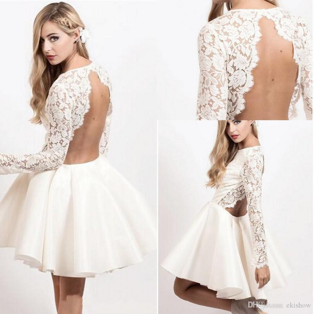 d256775bd233 2017 Cheap Sexy Backless White Lace Prom Dresses Long Sleeves Knee Length  Short Homecoming Dresses Evening Cocktail Dresses Custom Made Short Fitted  ...