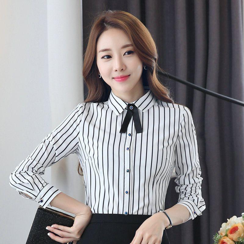 19cf0777254 2017 New Spring Autumn Shirts Women Blusa Stripe Blouse Long Sleeve Fashion Tops  Women s Clothing OL Style Women Tops Office Wear Ladies Shirt New 2017 ...