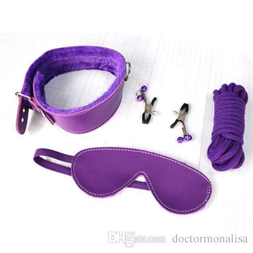 Unisex Fur Set Kit di alta qualità in similpelle Blindfold Manette Collare Fetter Whip Ball Gag Bondage Device Giocattoli sexy DoctorMonalisa BR017