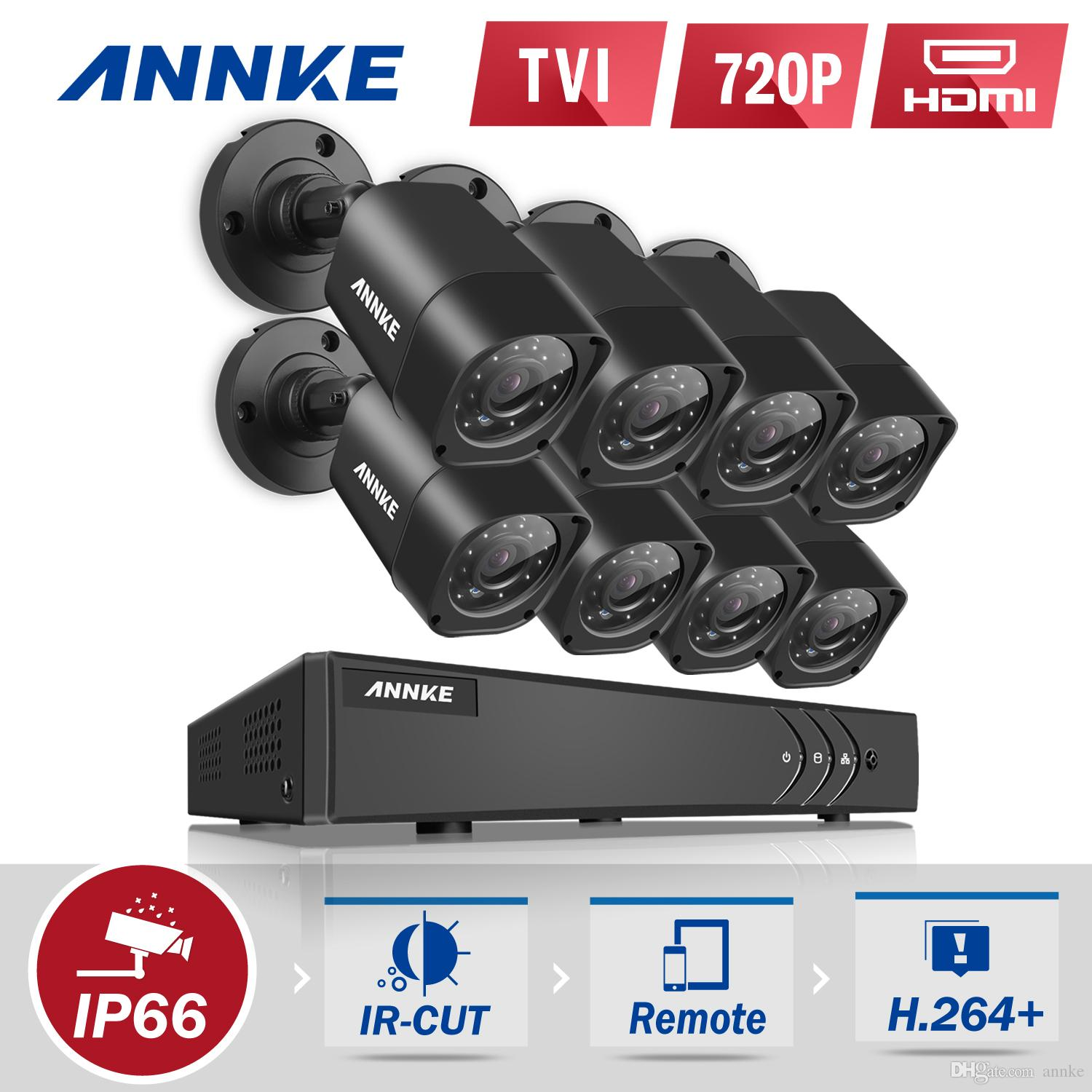 ANNKE 8CH Security Camera System 1080N DVR Reorder with 1TB Hard Drive and  (8) HD 1280TVL Outdoor CCTV Cameras with IP66 Weather Proof and M