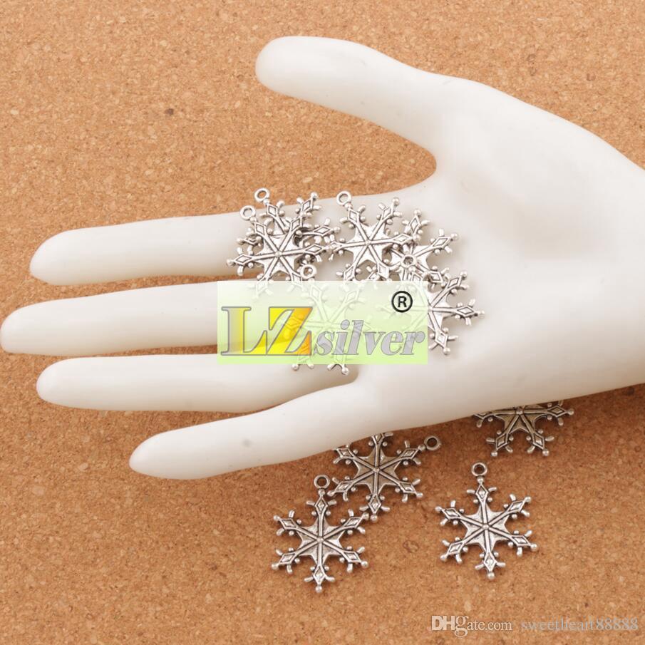 큰 점이 눈송이 매력 비즈 22x28.7mm 티베트어 실버 펜 던 트 패션 주얼리 DIY 맞는 팔찌 목걸이 귀걸이 L737