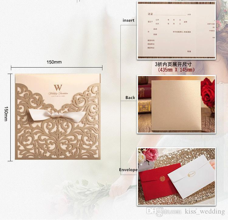 Wedding Invitation Cards Personalized Gold Hollow Laser Cut Flowers Party Printable Invitation Cards Ribbon with Envelope Sealed Card
