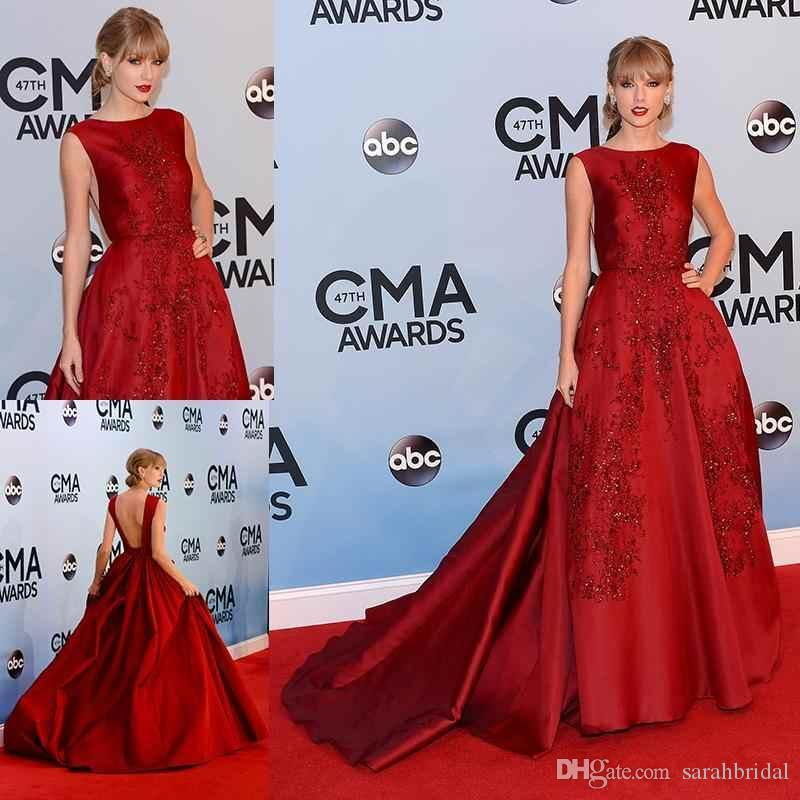 A Line Satin Red Vintage Elegant Celebrity Country Dress Backless Beadings Sequins Runway 2017 Plus Size Modest Dresses Evening Gowns 1y Flowy