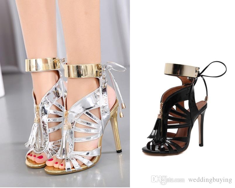 New Designs Sexy Fashion sandals with fish mouth Sequins hollow out thin belt for women shoes quality in low price