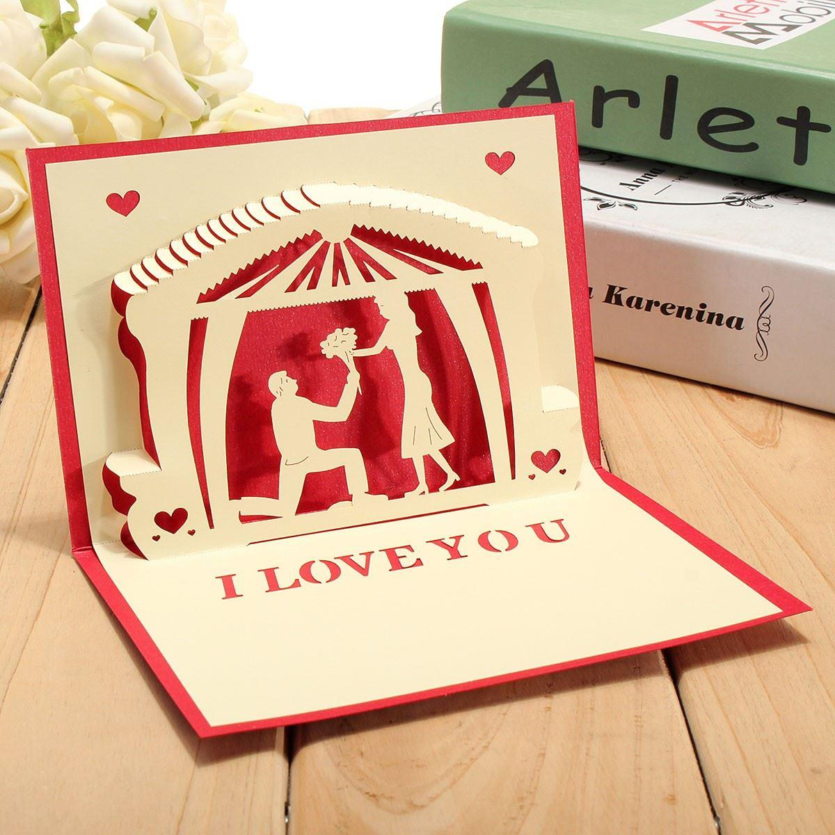 Wholesale 3d Pop Up Handmade Romantic Postcard Confession Of Love