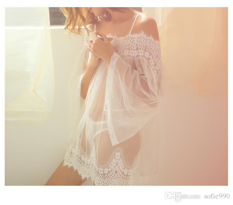 Женские пижамы женские сорочки сексуальное женское белье кружевные халаты пижамы прозрачное платье Babydoll сетка нижнее белье пижамы платье