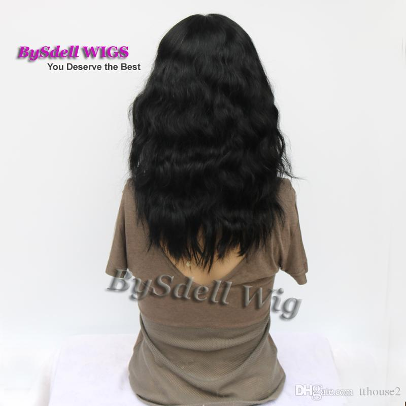 Medium Length Loose Curly Hair Lace Front Wig Vivid Synthetic/ Brazilian Virgin Human Hair Sexy Lace Front Wigs for Black/ White Women