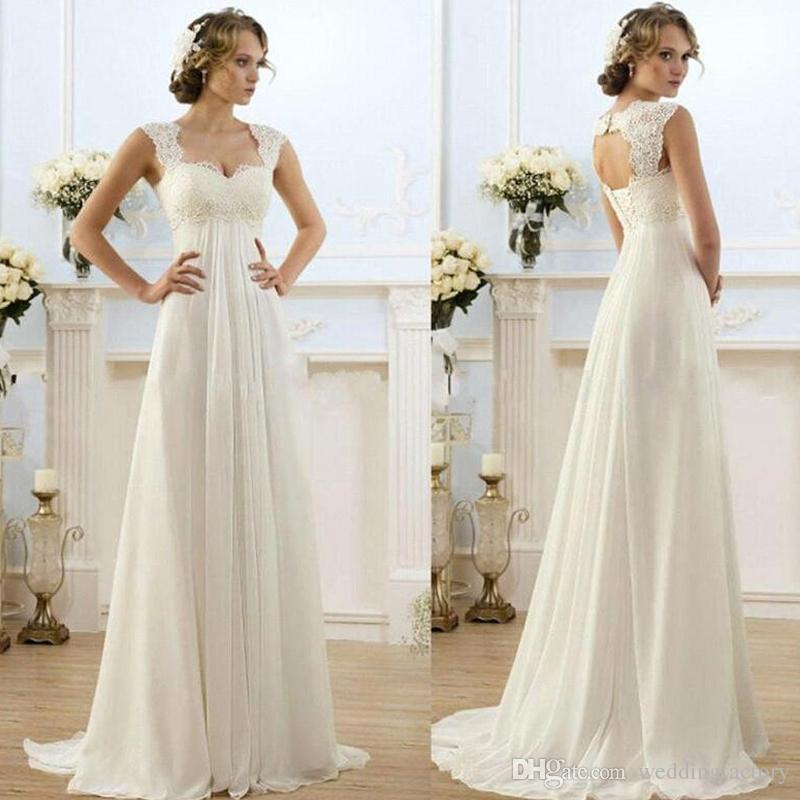 293b5a0790d8 2017 New Romantic Beach A Line Wedding Dresses Cheap Maternity Cap Sleeve Keyhole  Lace Up Open Back Chiffon Summer Pregnant Bridal Gowns Plus Size Empire ...