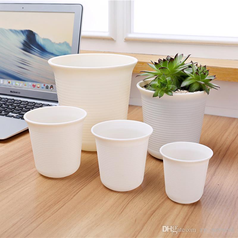 2017 NEW ARRIVAL Plastic Pots for Plants 5 Different Size Stripes Matting Face Garden Pot for Flower, Plant, Succulent plants
