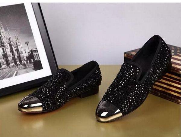 Dandelion Spikes Flat Black Patent Leather Reviets Fashion Mens