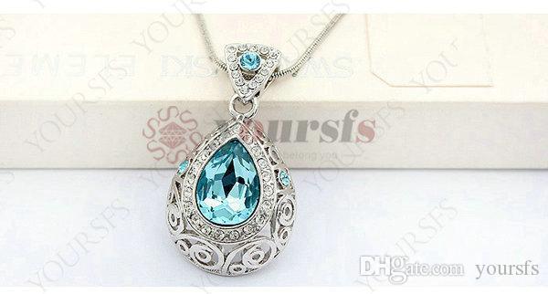 Yoursfs 18k blanco chapado en oro cristal lágrima pandent necklace uso joyería de moda de cristal austriaco verde