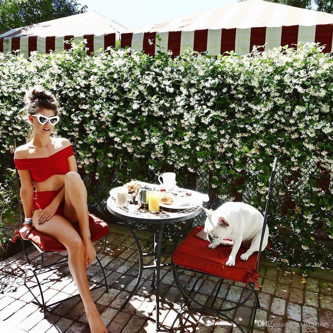 2017 Red off shoulder Sexy bandeau ruffle flounce bikini set two pieces swimsuit swimwear swim suit for women bathing suit