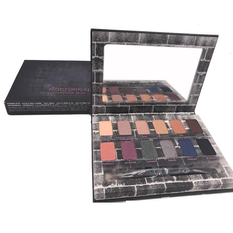 New Nocturnal Shadow Eyeshadow Palette Eyeshadow Palette Makeup Palettes with Eye Shadow Brush Matte Shimmer Smoky 3001073